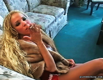 Lusty smoker waits. Sultry Sophia smokes her cigarette and waits for her lover to come home