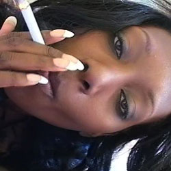 Ebony princess. The cocoa skinned honey loves a mouth full of smoke and cock.
